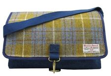 Authentic Harris Tweed Crossover Despatch Bag - Denim / Yellow HC004