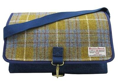FäHig Authentic Harris Tweed Crossover Despatch Bag - Denim / Yellow Hc004