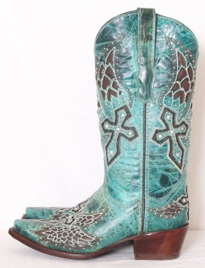 Cowboy Pro NEW Turquoise Distressed Leather Inlay Studded Cross Boot Donna US 6