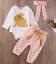 Newborn Infant Baby Girls Clothes Set Cotton Gold Rabbit Romper+Pink Dot 3pcs