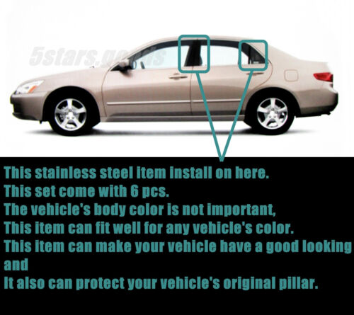 Stainless Steel Chrome Door Pillar Posts Covers Trims For Honda Accord 2003-2007