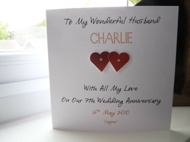 7th Wedding Anniversary.Handmade Personalised Copper 7th Wedding Anniversary Card Husband Wife Couple