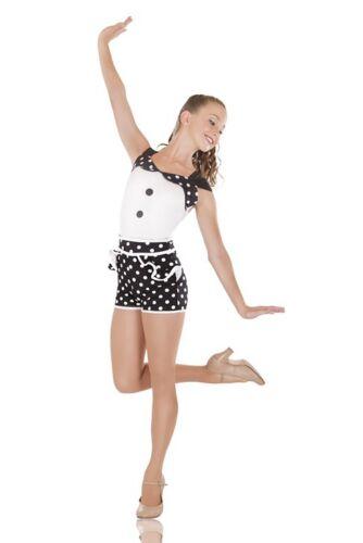 IN STOCK Modern Candy Black /& White Spotty Dance Costume Jazz Short Unitard