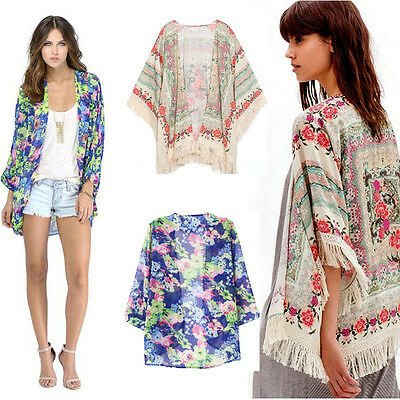 NEW New Summer Women Floral Loose Tassels Shawl Kimono Cardigan Coat Jacket 2015
