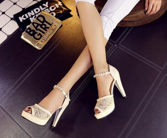 Último gran descuento Zapatos zapatillas sandalias tacón alto 11.5 cm blanco cómodo élégant 9306