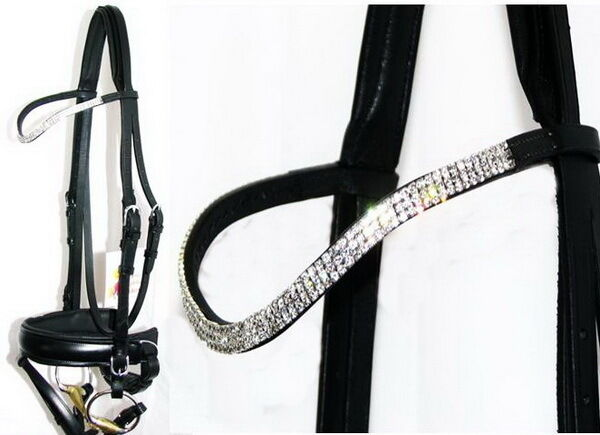 FSS Curve SHAPE  Crystal 3row CLEAR GLITZY BLING German Comfort Crank Bridle New  with cheap price to get top brand