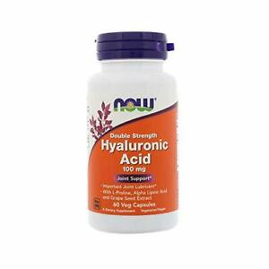 NOW Supplements, Hyaluronic Acid 100 mg, Double Strength, 60 Veg Capsules