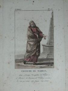 Grabado Colores Traje de Narbas (Teatro) Janinet Siglo XVIII C. 1790