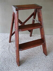 Image is loading Vintage-3-Steps-Stool-Stepstool-Ladder-Primitive-Stand- : steps stool - islam-shia.org