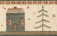 Log Cabin By Carol Endres Rustic Country Folk Outdoors Wallpaper Wall Border