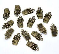 10 x 19mm Antique Bronze Zinc Alloy Fries Chips Steampunk Pendant Charm R44