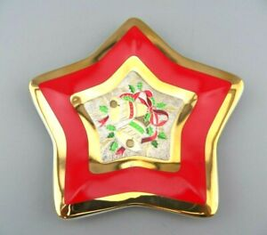 "Vintage Christmas Chokin Star Plate With Bell Design 5.5"" In 24 K Gold Trim GUC"
