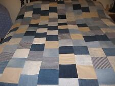 """Patchwork Quilt Top From Recycled Denim Jeans & Prints 94""""x 79"""""""
