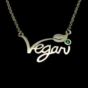 Silver-Plated-Vegan-Necklace-Letters-Green-Stone-Cruelty-Free-Jewellery-45cm