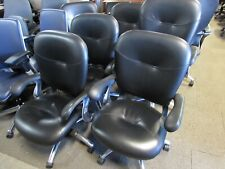 Allsteel Black Leather And Chrome Conference Chairs