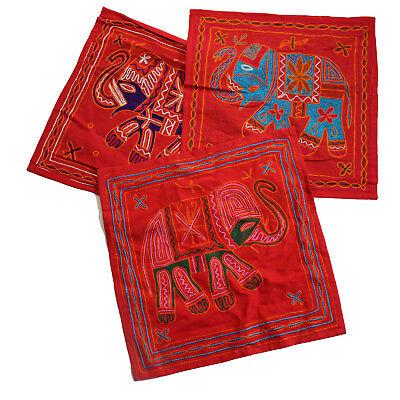 Kissen Kissenhülle bestickter Kissenbezug Rot 40 x 40 cm Dekokissen Elefanten ts