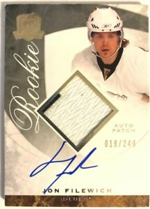 2008-09-Upper-Deck-The-Cup-Autograph-Patch-Rookie-Card-Jon-Filewich-RC-249