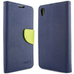 Navy-Neon-Green-Phone-Cover-for-Sony-Xperia-Z5-Card-Case-Holder-Folio-Pouch