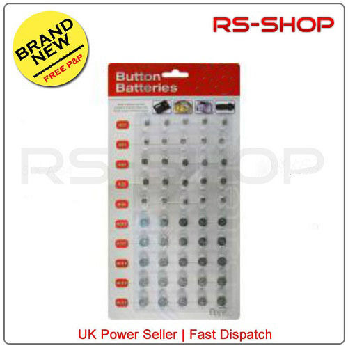40 Assorted Button Cell Watch Batteries AG1/3/4/5/12/13 Individually Sealed-NEW