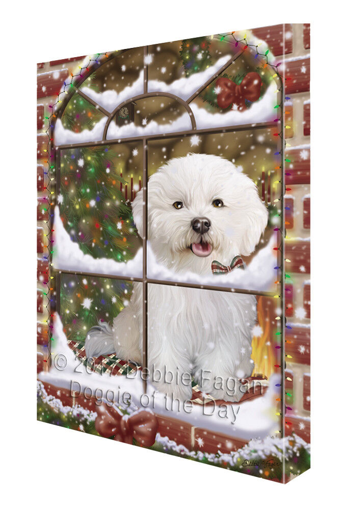 Please Come Home For Christmas Bichon Frise Hund In Window Canvas Wand Kunst
