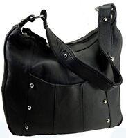 Leather Handbag Locking Concealed Carry Ccw Purse Gun Purse Black R & L 7006