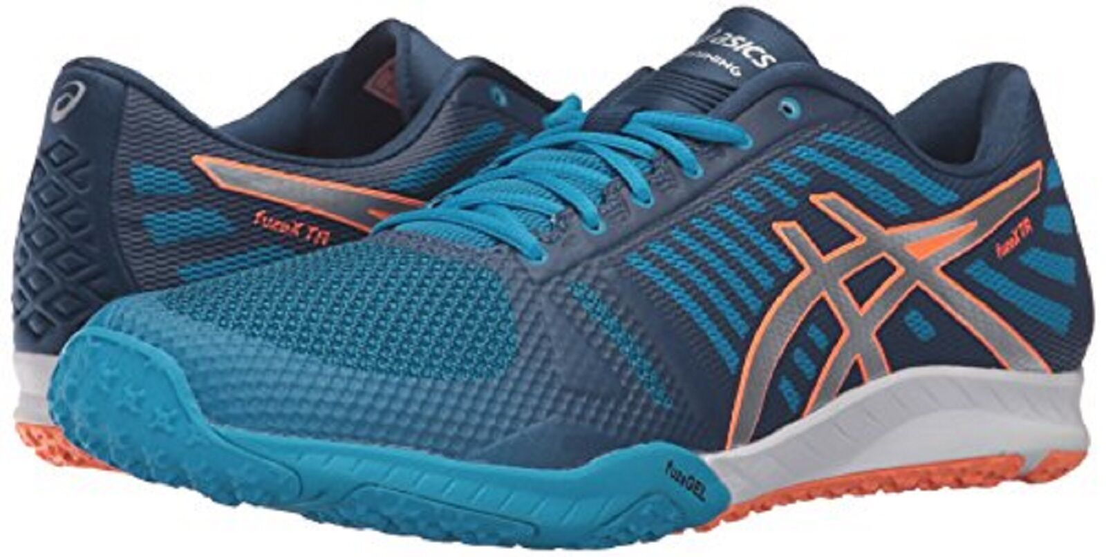 ASICS fuzeX TR (S613N) Cross-Zapatilla Zapato De Hombre Azul Plata Naranja M Nuevo en Caja