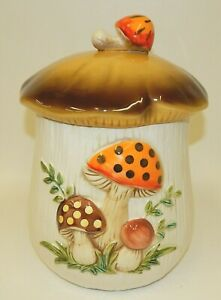 Vintage-1978-Sears-Merry-Mushroom-10-75-034-Tall-Cookie-Jar-Large-Canister