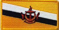 Brunei Flag Iron On Patch Military Emblem Gold Border