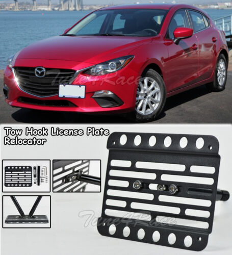 For 14-16 Mazda 3 Front Tow Hook License Plate Relocator Mount Bracket New