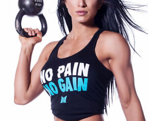 20fb474877b15 NEW Womens Muscle Club NO PAIN NO GAIN Gym Workout Lifting Fitness ...