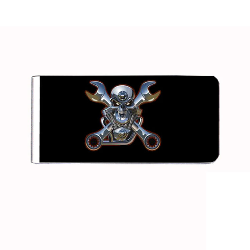 Metal Money Clip Cash Bills Credit Card Metal Holder Skull D 9