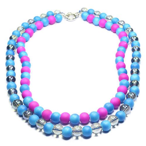 Rainbow Candy Shell /& fuego místico Cristal Collar de Declaración Joyas Regalo Idea