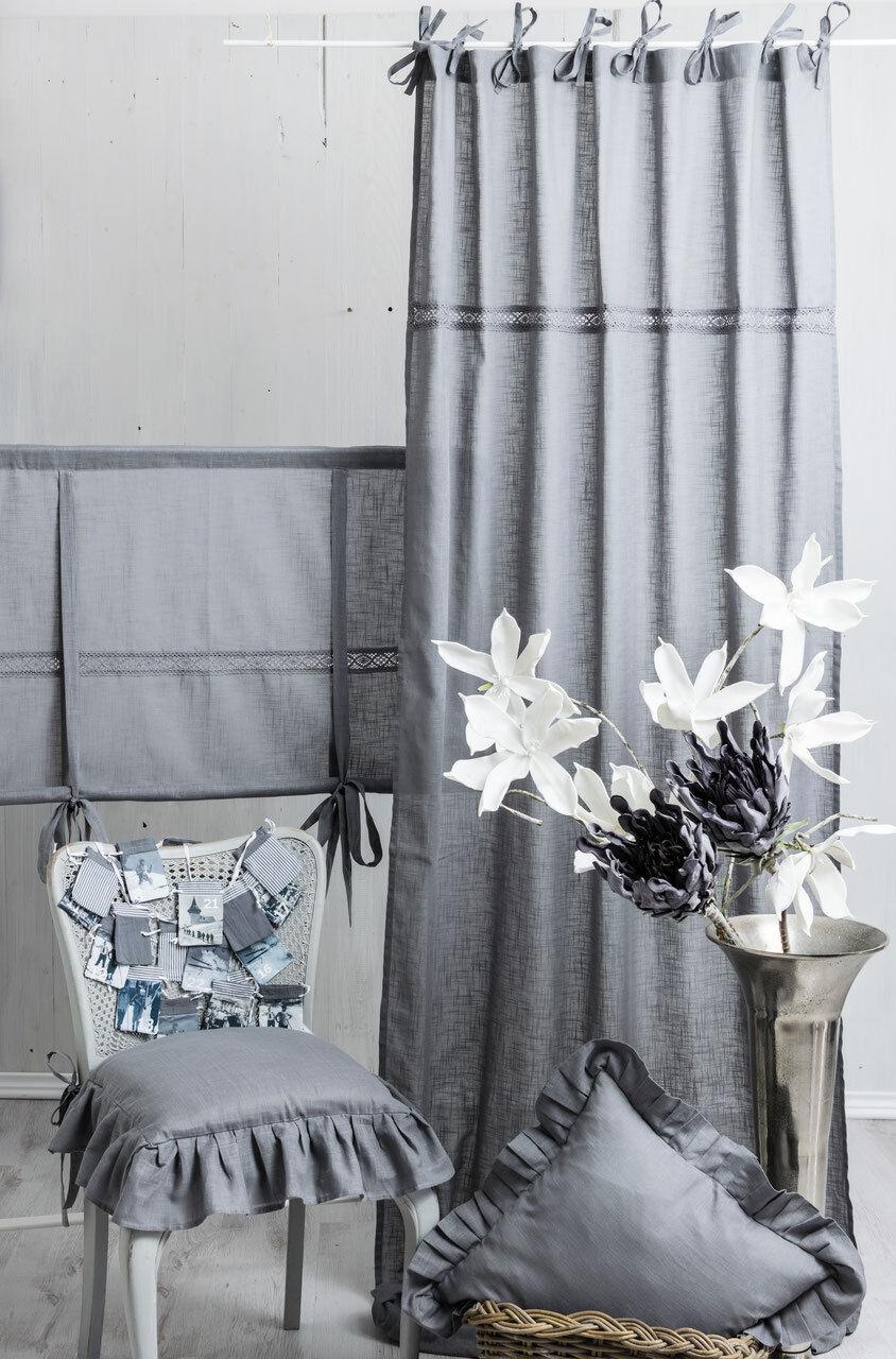 JULIA JULIA JULIA FROST GRAU 2x(120x250cm) Gardine Vorhang Raffgardine Landhaus Shabby NEU | Fein Verarbeitet  71342c
