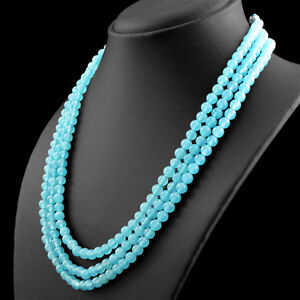 371-95-CTS-NATURAL-RICH-BLUE-CHALCEDONY-3-STRAND-ROUND-SHAPE-BEADS-NECKLACE