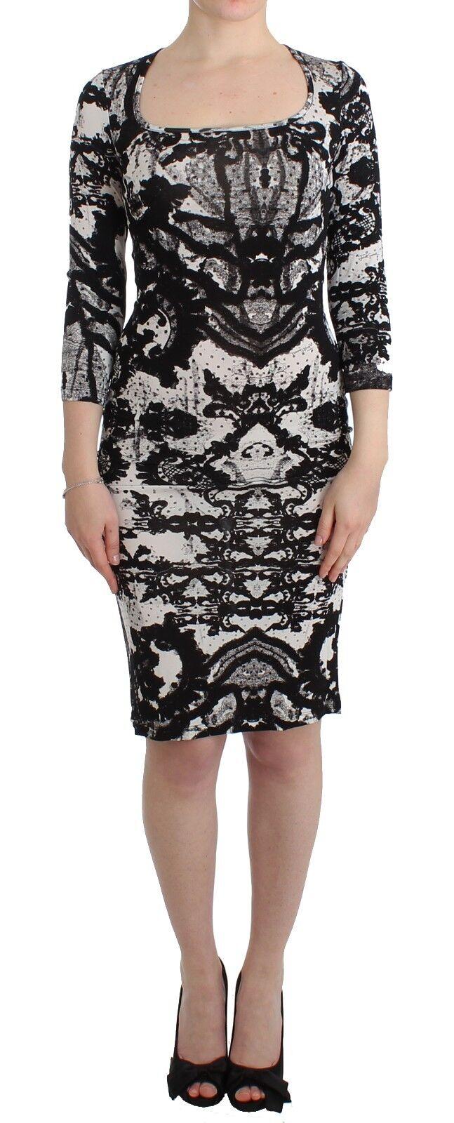 NEW  JUST CAVALLI Printed Sheath Dress Wiggle Pencil 3 4 Sleeve IT40 US6