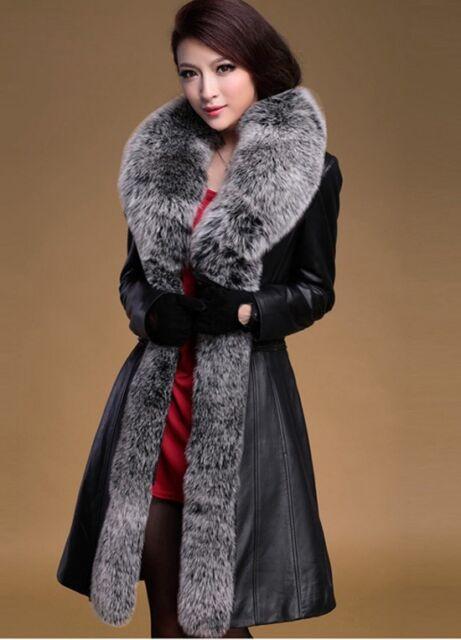 100% Real Genuine Sheep Leather Long Jacket Coat Fox Fur Collar Women Fashion
