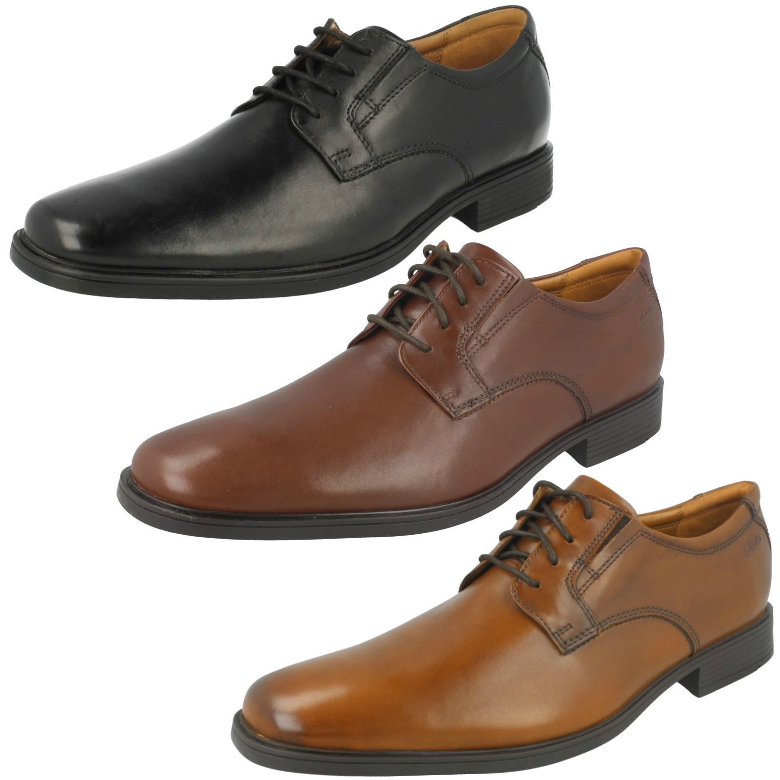 Mens Clarks Formal Rounded Toe Lace Up Smooth Leather shoes Tilden Plain