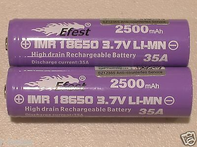 4  purple EFEST IMR 18650 HIGH DRAIN 35A RECHARGEABLE Li-MN Battery 2500mAh B.T