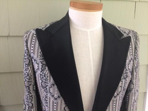 Vtg 60s Black gray formal tapestry tuxedo jacket 3