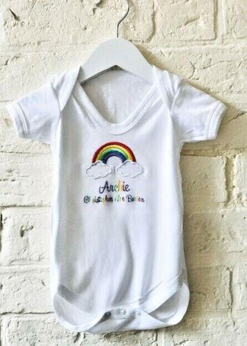 Baby Shower Recién Nacido Chaleco De Bebé Personalizado Bordado Arco Iris Niño//Niña nombre