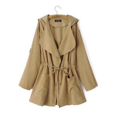 New Women Winter Trench Coat Warm Hooded Long Jacket Windbreaker Parka Outwear