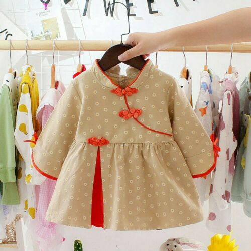 New Year Baby Girl Cotton Long Sleeve Dress Tang Suit Dresses Outfit 6-36Months