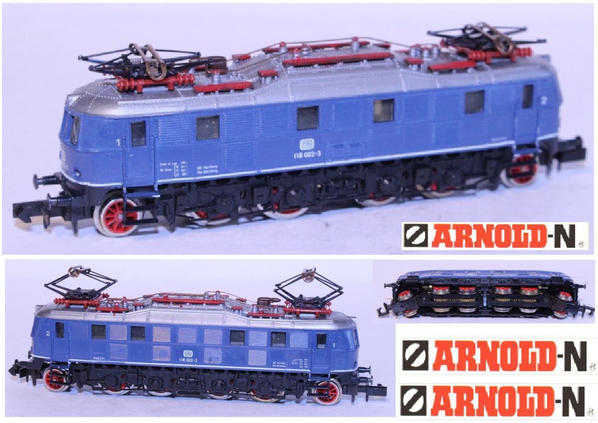 ARNOLD  VINTAGE LOCOMOTORE ELETTRICO BR118 022-3 DB blueE ELECTRIC LOCO SCALA-N