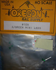 Ho Scale Oregon Rail Supply 3 / Green Mini LEDS Kit #109 NIP