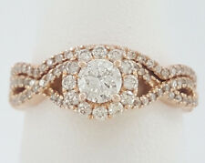 0.80 ct 14K Rose Gold Round Cut Diamond Engagement / Wedding Halo Ring Set