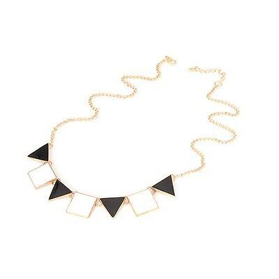 Gold Black White Monochrome Geometric Costume Jewellery Necklace + Gift Bag