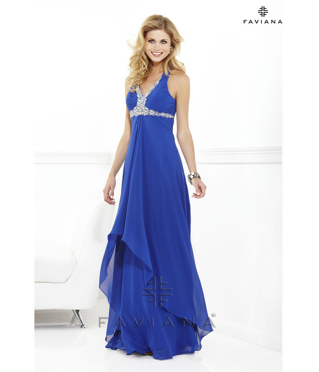 Nuevo Faviana 6916 azul cielo largo  desfile vestido vestido de Royal Baile de Graduación Formal Talla 0-14  la mejor selección de