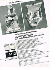 PUBLICITE ADVERTISING 054  1967  AEG   lave vaisselle  par devant ou le haut