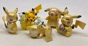 Pikachu-Pokemon-Mini-Figures-4-Piece-Collectible-Set-20th-Anniversary-TOMY-Loose