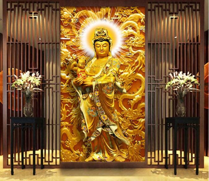 3D Goldene Buddha-Statue 84 Tapete Wandgemälde Tapete Tapeten Bild Familie DE